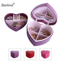 Starlord Jewelry Box Display Storage Case Two Layer Heart Shape Organizer With Mirror PU Leather Travel