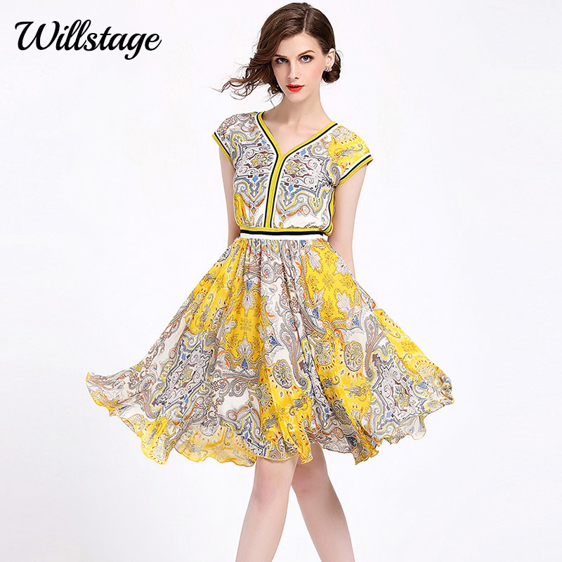 Willstage Summer Dress Short Sleeve V-neck Elegant Yellow pattern Women  dresses Party High quality ea470e6d57a6