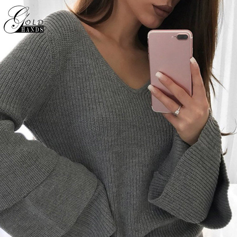 Gold Arms Flower Hole Stable Cardigan Free Stitching Sweater Girls Layer Flare Sleeve Informal Slim Pullovers Knitting Knitwear