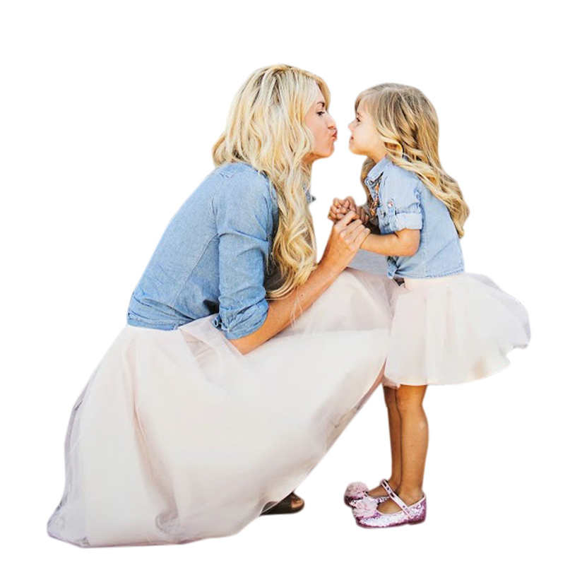 Girls dress Summer Cute Dress Mommy and Me Kids Girl Demin T shirt Tops+Skirt Dress Family Clothes Outfitswith High Quality AP19 family fashion summer tops 2015 clothers short sleeve t shirt stripe navy style shirt clothes for mother dad and children