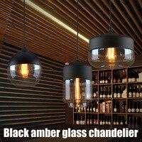 Black Amber Glass Chandelier Geometric Glass Dining Room Chandelier DAG ship|Pendant Lights| |  -