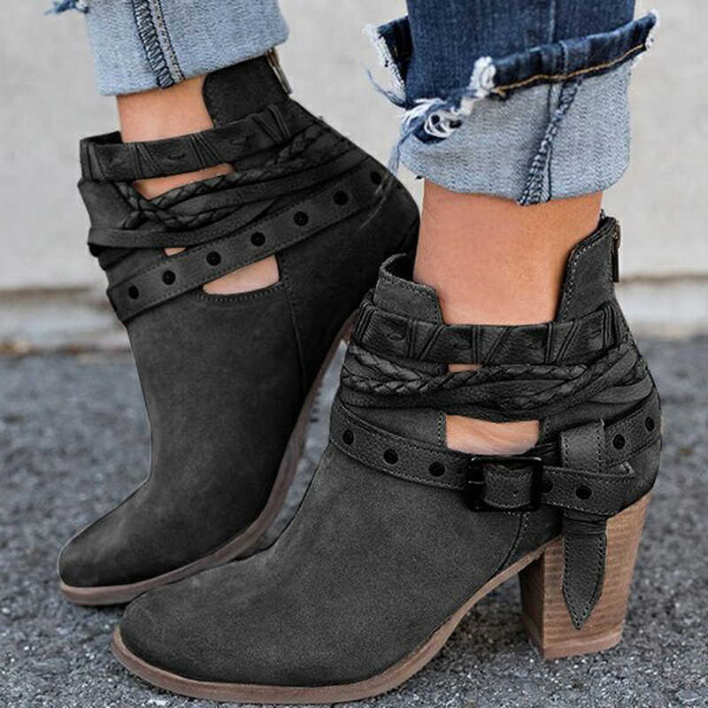 Kadın botları moda rahat bayan ayakkabıları Martin çizmeler süet deri toka çizmeler yüksek topuklu fermuar kar ayakkabıları Femme için