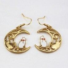 Japanese fashion cartoon series exquisite enamel moon star cat cat lady Ms stud earrings 2017 fashion earrings wholesale