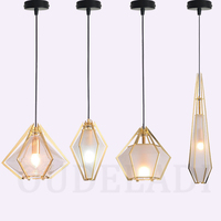 Modern Nordic Glass Diamond Pendant Lights Creative Single Head Bar Restaurant Retro Bedroom Iron Lamps With E14