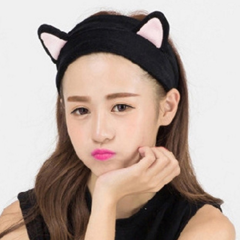 Cat ears Hair band Women Head band Turban Girls SPA make up  Gargle Bath Hairband large 24x24 cm simulation white cat with yellow head cat model lifelike big head squatting cat model decoration t187
