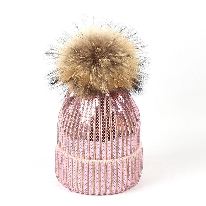 Female  Knitted Real Fur Hat Women Sequins Cap Women Winter Warm bonnet femme Headwear Outdoor Pompom Skullies & Beanies
