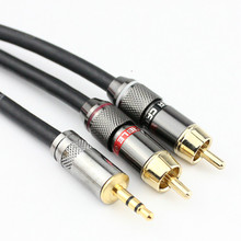 High quality HIFI 3.5mm stereo One-divided-two RCA HIFI av calbe Adapter Connecting head 1.5m 2m 3m 5m 10m
