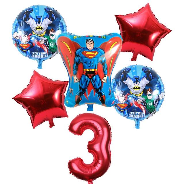6pcs Super Hero Balloons Avengers Batman Foil Balloon Children Birthday Party Supplies 32 Inch Number Balloon Baby Superman Toys