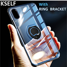 KSELF Luxury Case For Apple iPhone 7 X 8 6 6S Plus Kickstand with Ring Cover Shockproof Cases Coque