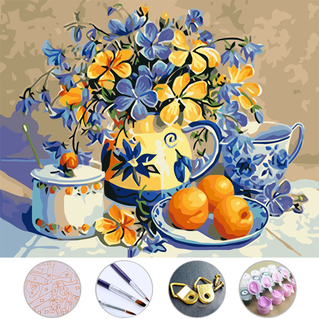 Aliexpress Buy Diy Oil Painting Vase And Fruit Drawing