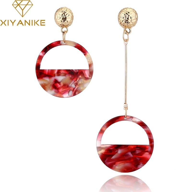 XIYANIKE 5 Colors New Women Trendy Ethnic Vintage Asymmetric Acrylic Statement Drop Earrings for Women Jewelry Accessories E1384