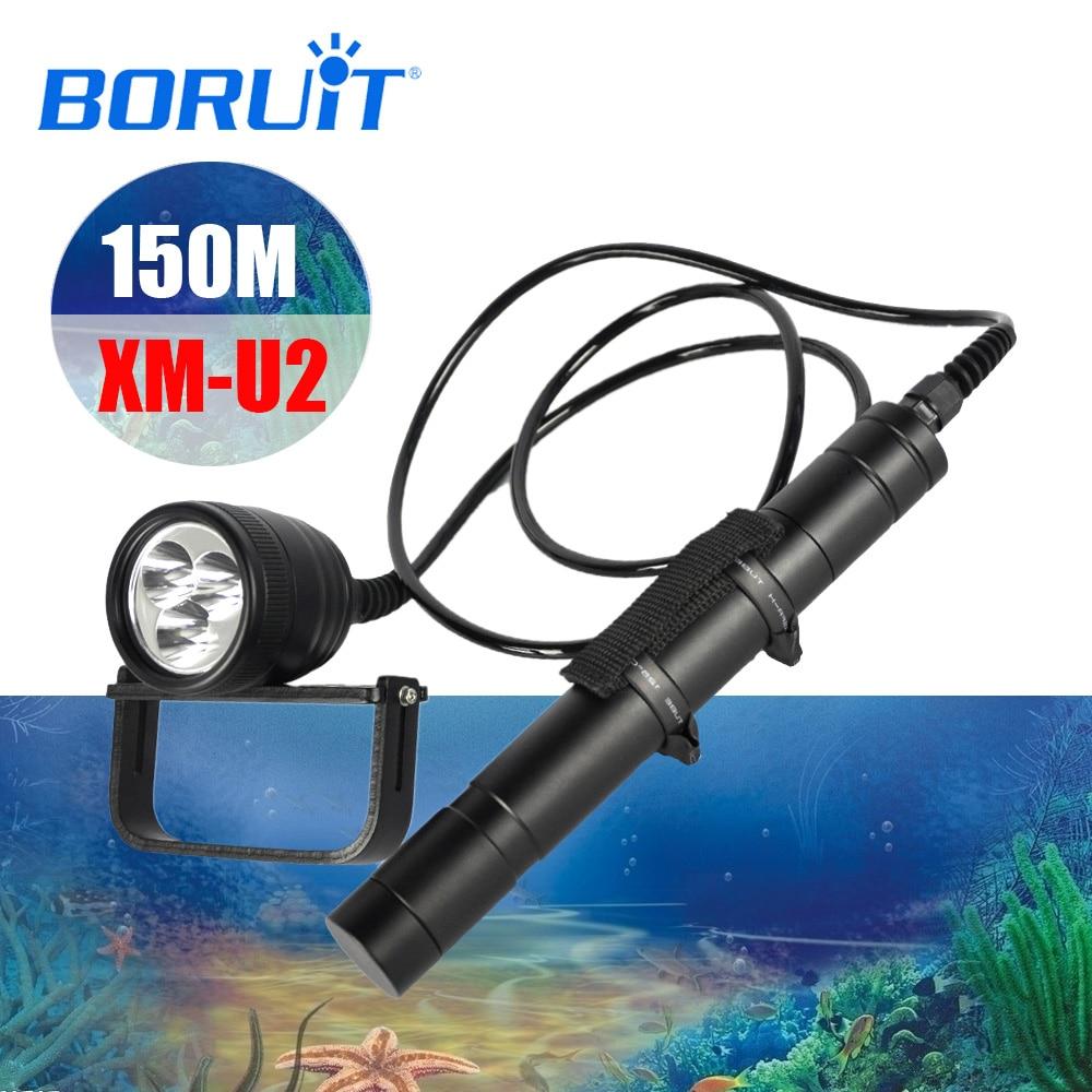 BORUIT LED Xml U2 Professional Scuba Flashlight Diving Torch div10 Underwater Lamp Light Lantern Diving Equipment Accessories-in LED Flashlights from Lights & Lighting
