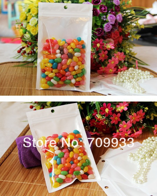 2000pcs/lot(7.5*12cm) Resealable Plastic Clear White Retail Zipper Packing Bags with Hang Hole Zip Lock Storage Package Bags