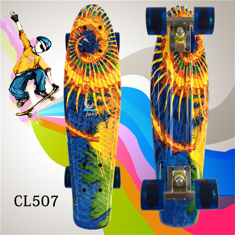 Image 5 - 22 Inches Long Skate Board Gorgeous Pattern Skateboard Long Board Penny Board Patins Single Rocker Loadbearing Wheel-in Skate Board from Sports & Entertainment