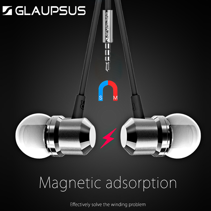 New GLAUPSUS In-Ear Micro Wire Metal Magnetic Earphone Headset Super Bass Earbuds Stereo Headfree for Xiaomi Samsung iPhone glaupsus gj01 in ear 3 5mm super bass microphone earphones earplug stereo metal hifi in ear earbuds for iphone mobile phone
