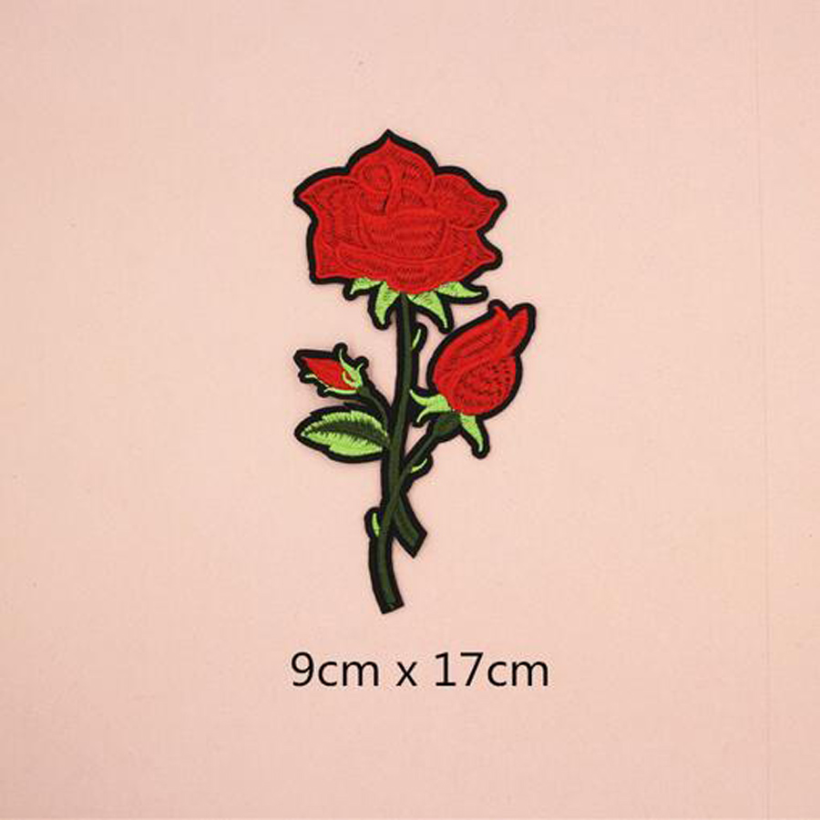 Fabric Embroidered Red Rose Flower Patch Clothes Stickers Bag Sew Iron On Applique DIY Apparel Sewing Clothing Accessories BU77 in Patches from Home Garden