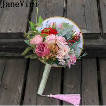 JaneVini Classic Pink Bridal Fans to Cover Face Tassel Chinese Style Wedding Bride Bouquet Fan Artificial Red Rose Peony Brooch