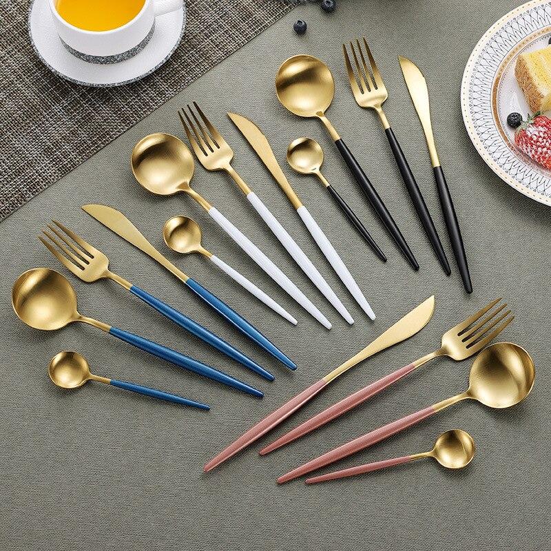 Lemeya 24Pcs set 304 Stainless Steel Black Gold Cutlery Set Flatware Dinnerware Tableware Silverware Set Knife