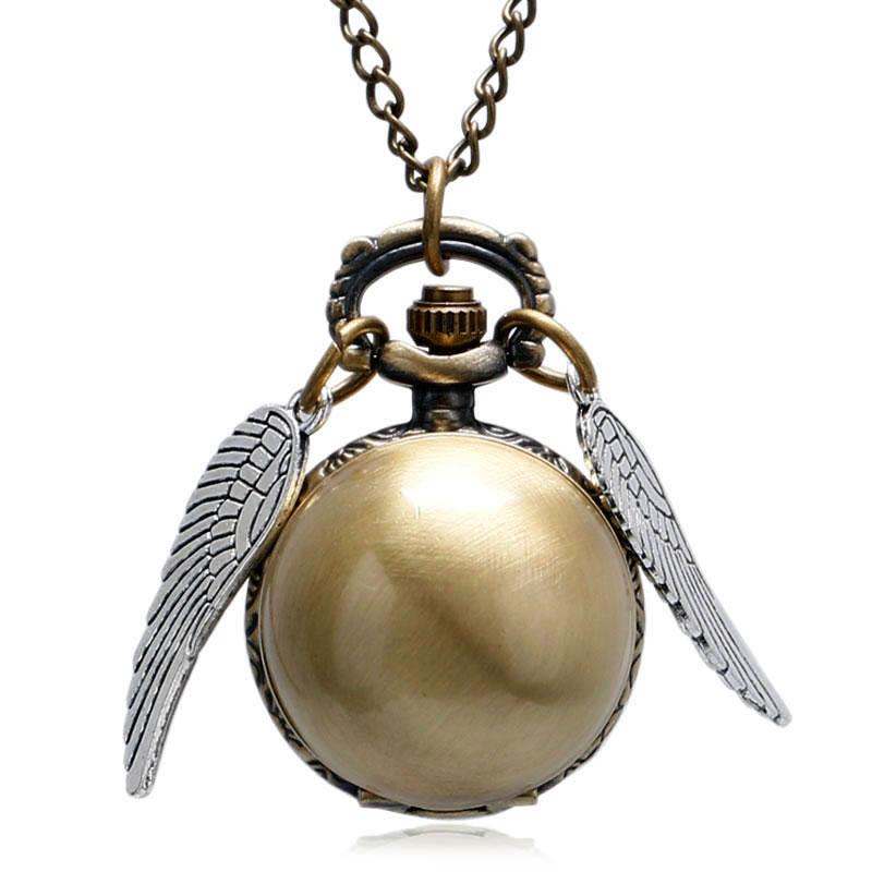 YISUYA Vintage Silver Wings Quartz Pocket Watch Gold Ball Shape Necklace Steampunk