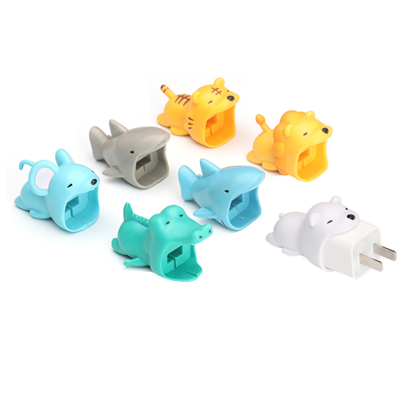One Set Cable Animals Bite Protector For Iphone Cable Winder Phone Holder Accessory Rabbit Dog Cat Animal Doll Model Funny