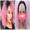 Cosplay Curly Synthetic Lace Front Wigs For Black Women Afro Kinky Curly Lace Front Synthetic Wig Heat Resistant Ombre Pink Wigs