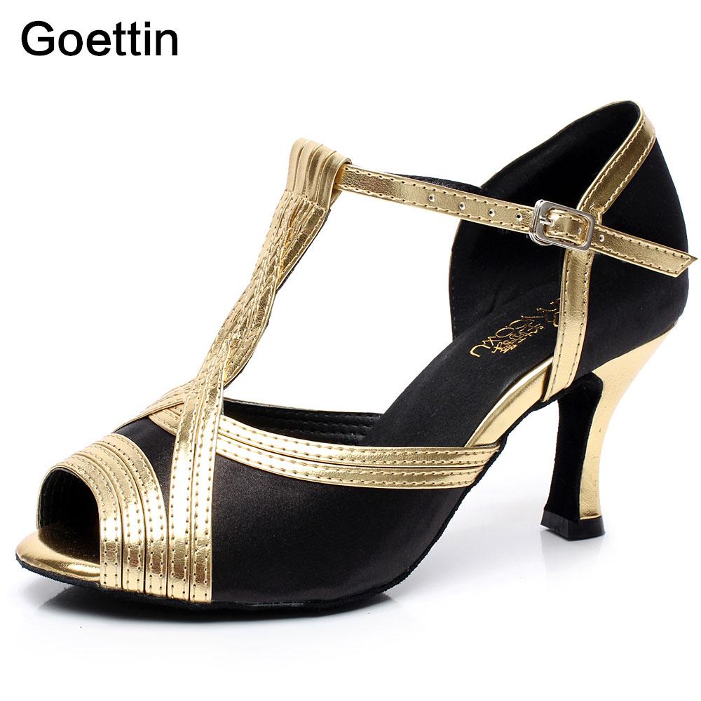 2017 Marca Goettin 6cm / 7.5cm Fete de baie / Dansul latin Dansuri de dans Pantofi profesionale de tango pentru dans Pantofi de salsa Heeled Femei