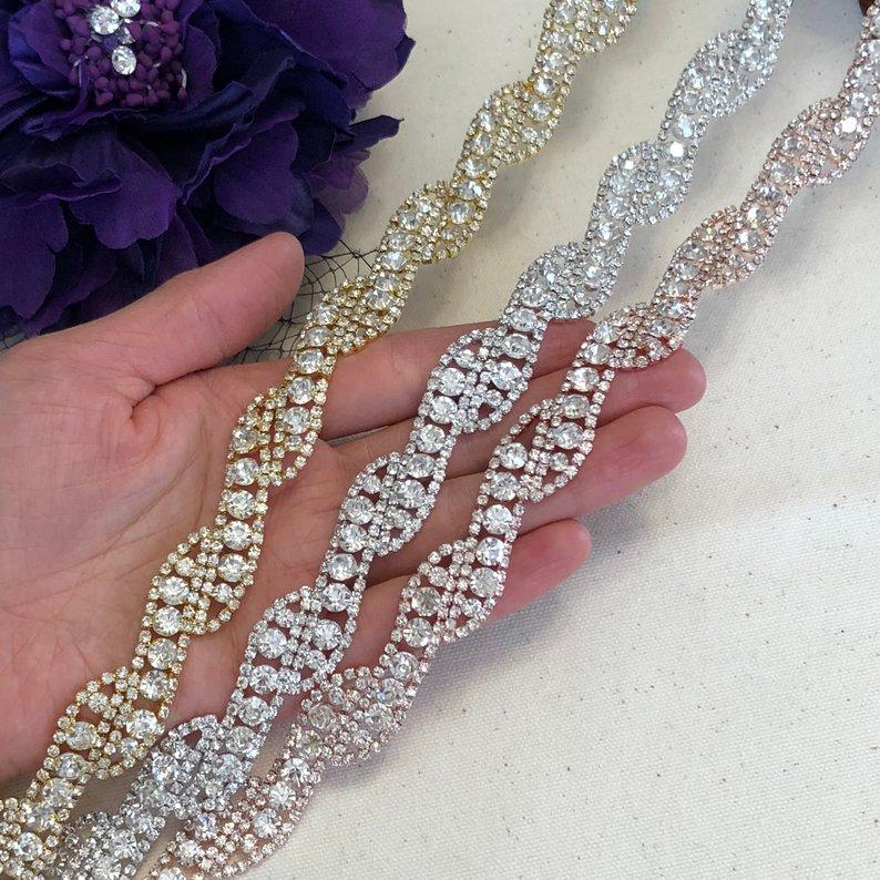 10 Yards à la main couture coupe mariée cristal clair strass garniture Appliques pour robe de mariée ceinture bricolage coudre sur