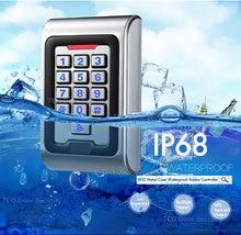 Controlador de acesso impermeável da porta do cartão ip68 rfid com saída de wiegand 26 tensão dc9v ao acesso do metal das chaves do luminoso 28 v
