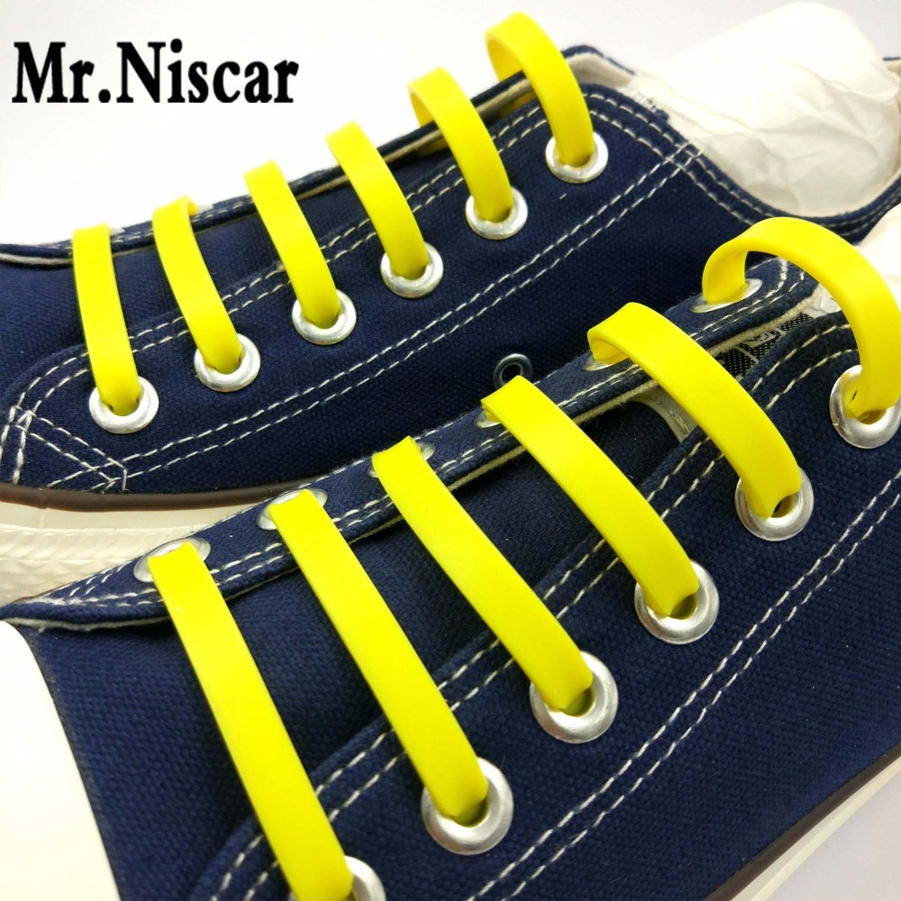 Mr.Niscar 1Set/12Pcs Hot Sale Fashion Yellow No Tie Elastic Shoe Lace Silicone Sneaker Shoes Adult Kids Shoelaces Free Shipping цена 2017