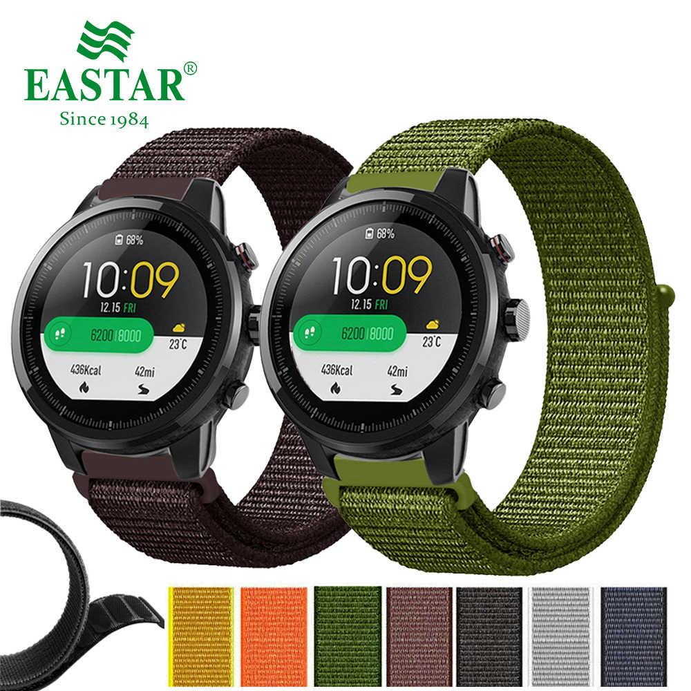 النايلون المنسوجة حزام (Band) ساعة ملونة استبدال 22 مللي متر حزام ساعة ل Amazfit ستراتوس بيس 2 ل شاومي Huami Amazfit بيس سوار