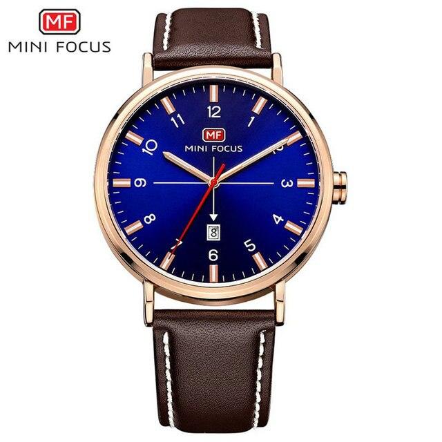 MINI FOCUS Top Brand Men Analog Quartz Watch Genuine Leather Strap Arabic Number Classic Black Boyfriend Clock
