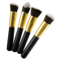 4 Pcs Golden Black Makeup Cosmetics Foundation Oblique Head Blush Face Eyebrow Powder Brushes New Quality
