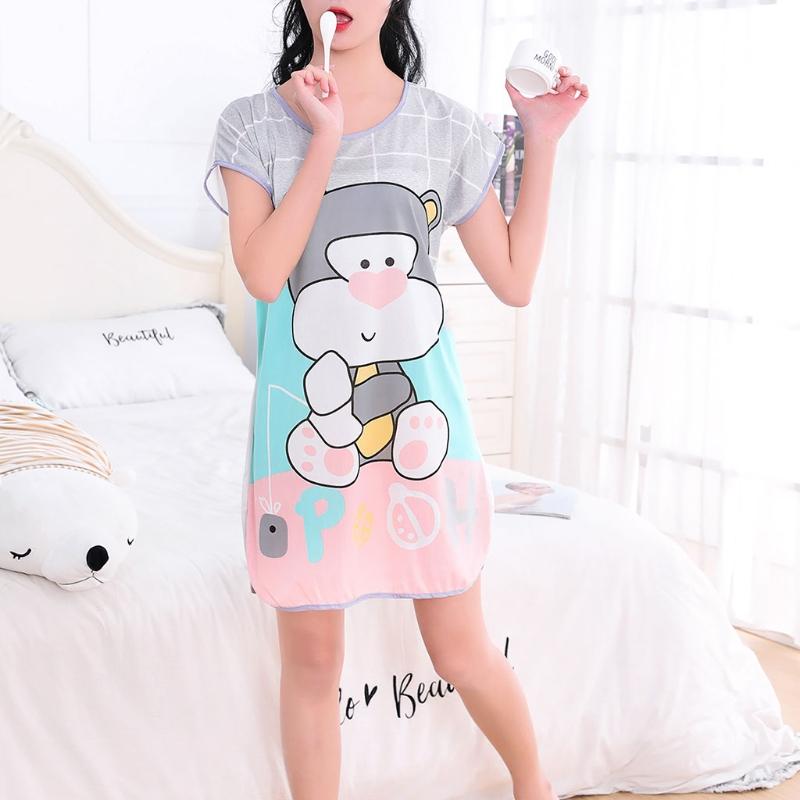 Summer Women Short Sleeve Sleepshirt Lovely Cartoon Pattern Printed Sleepshirt Lady Girl Loose Nightwear