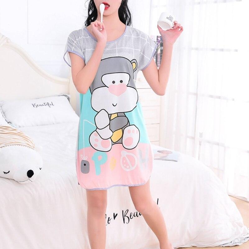 Summer Women Short Sleeve   Sleepshirt   Lovely Cartoon Pattern Printed   Sleepshirt   Lady Girl Loose Nightwear