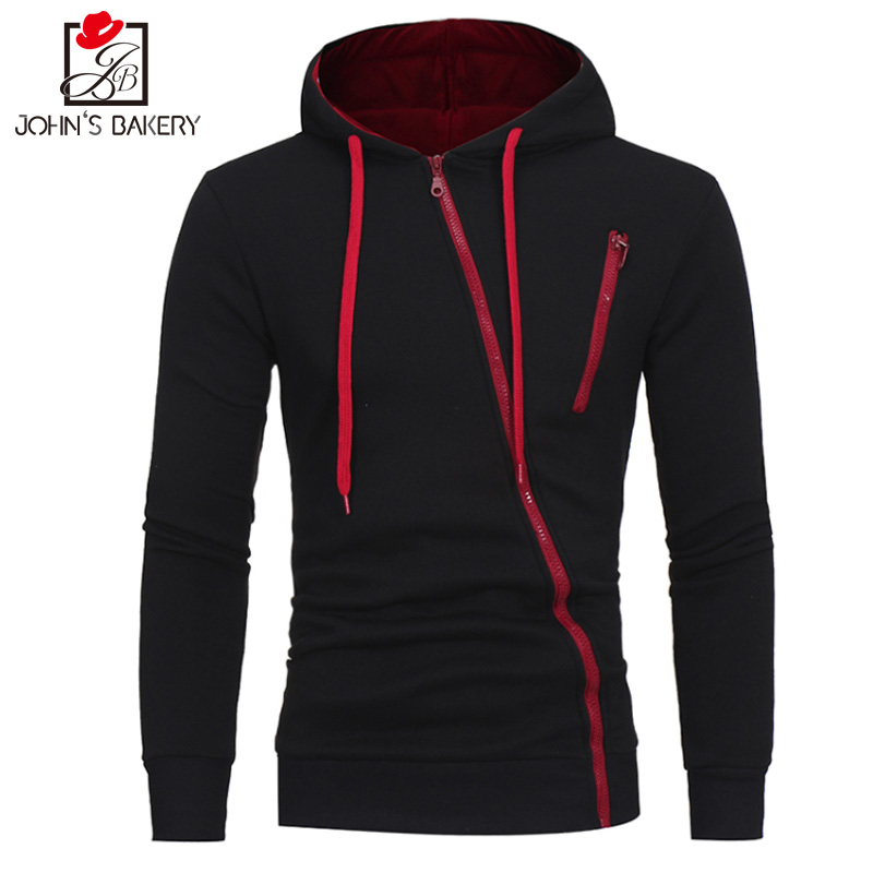 John S Bakery Brand 2017 Hoodie Oblique Zipper Solid Color Hoodies Men Fashion Tracksuit Sweatshirt Men