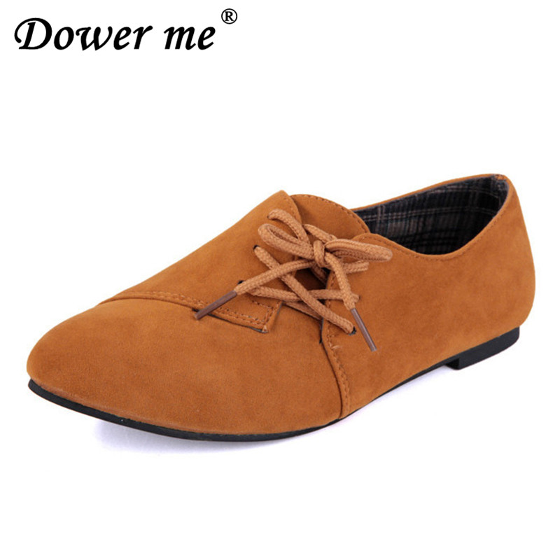 2018 Spring Summer New Womens Fashion Lace-up Style Casual Shoes Women Solid   Suede     Leather   Women Comfortable non-slip Flats