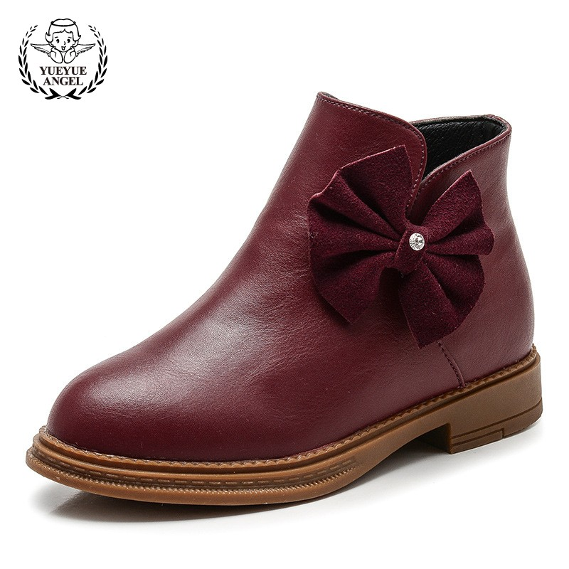 2018 Winter Shoes Original Leather Bow Princess Shoes Baby Girl Red Boots Girls Winter Boots Ankle Autumn Boots For Girls 3.5-9T 2014 new autumn and winter children s shoes ankle boots leather single boots bow princess boys and girls shoes y 451