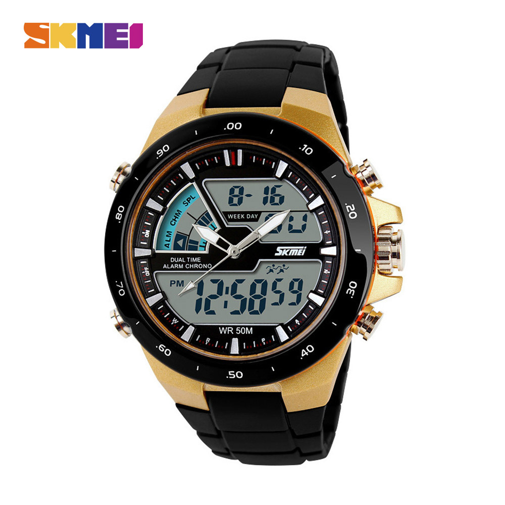SKMEI Fashion Men Sports Watch 5Bar Waterproof Designed Running Outdoor Wristwatch Double Time Clock Alarm Clock Relogio Masculi(China)