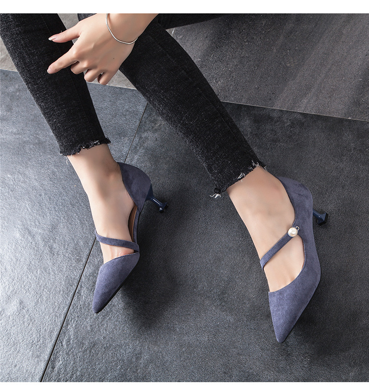 2018 fashion new arrival good quality wedding shoesFlock High Heels Pointed Toe