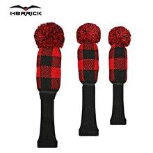 Kluby golfowe nakrycie głowy krata Knitting wełna Fairway wood headcover akcesoria do golfa 3 sztuk/zestaw darmowa wysyłka