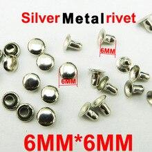 300 шт 6 мм* 6 мм Серебристые Металлические заклепки брендовые пуговицы Швейные аксессуары для одежды сумки брюки заклепки MR-005H