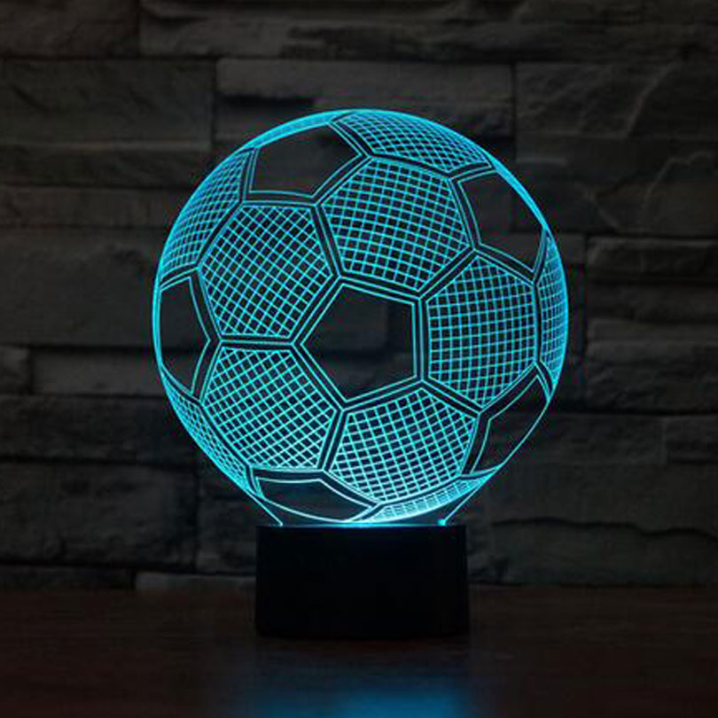 Creative illusion Lamp LED Night Light 3D Football Lamp Acrylic DiscolorationAtmosphere Lamp Novelty Lighting for foodball fans
