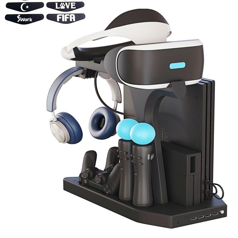 PSVR PS VR De Charge Présentoir Vitrine, Charge, Affichage pour PS4 VR Playstation 4 Vertical Stand, ventilateur, Contrôleur Chargeur Berceau