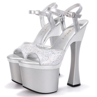 2016 summer sexy 18cm high heels peep toe catwalk models pumps thick platform buckle rhinestone PU sandals women wedding shoes