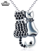 Genuine 925 Sterling Silver Cute Couple Cats Pendant Necklace Fashon Jewelry Black Cubic Zirconia Cat Charms