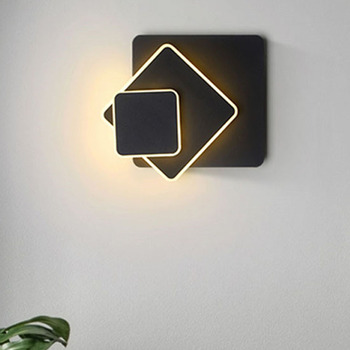 Thrisdar Creative Rotating LED Wall Lamp Square Nordic bedroom bedside LED Wall Light Stair Restaurant Cafe Hotel LED Wall Lamps