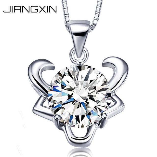 JiangXin 12 Constellation 925 Sterling Silver Dazzling Rhinestone Diamond Pendant Necklace for Girls Birthday Gift ddo5zl