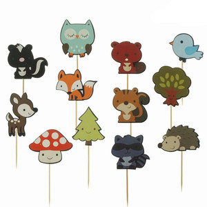 Image 3 - 12pcs Forest Animal Cupcake Topper Fox Owl Birds Happy Birthday Cake Topper For Baby Shower Kids Birthday Party Cake Decorations