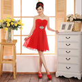2017 new arrival short homecoming dress women formal gown red sexy sweetheart elegant a line chiffon above knee cheap price