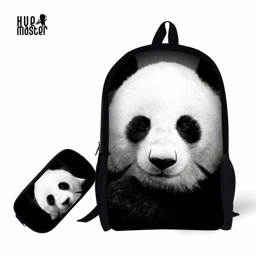 купить Panda School Bag Pencil Case Combination Cartoon Cat Dog Printing School Supplies Children Backpack +Pencil Box for Boys Girls по цене 1631.26 рублей